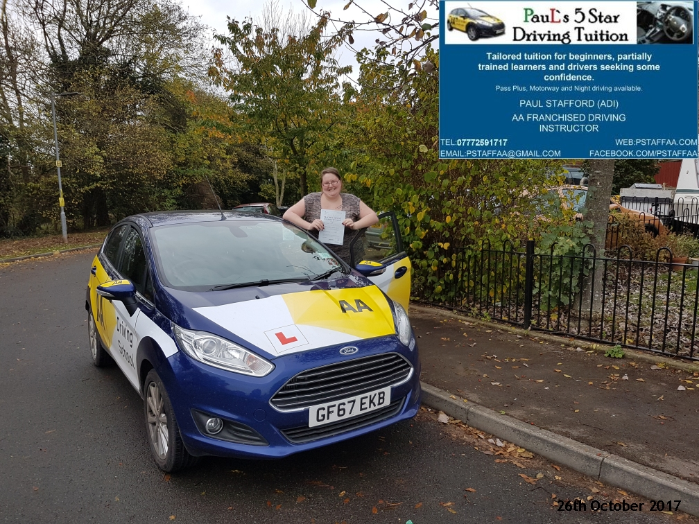 test pass pupil lynz walton with paul;s 5 star driving tuition