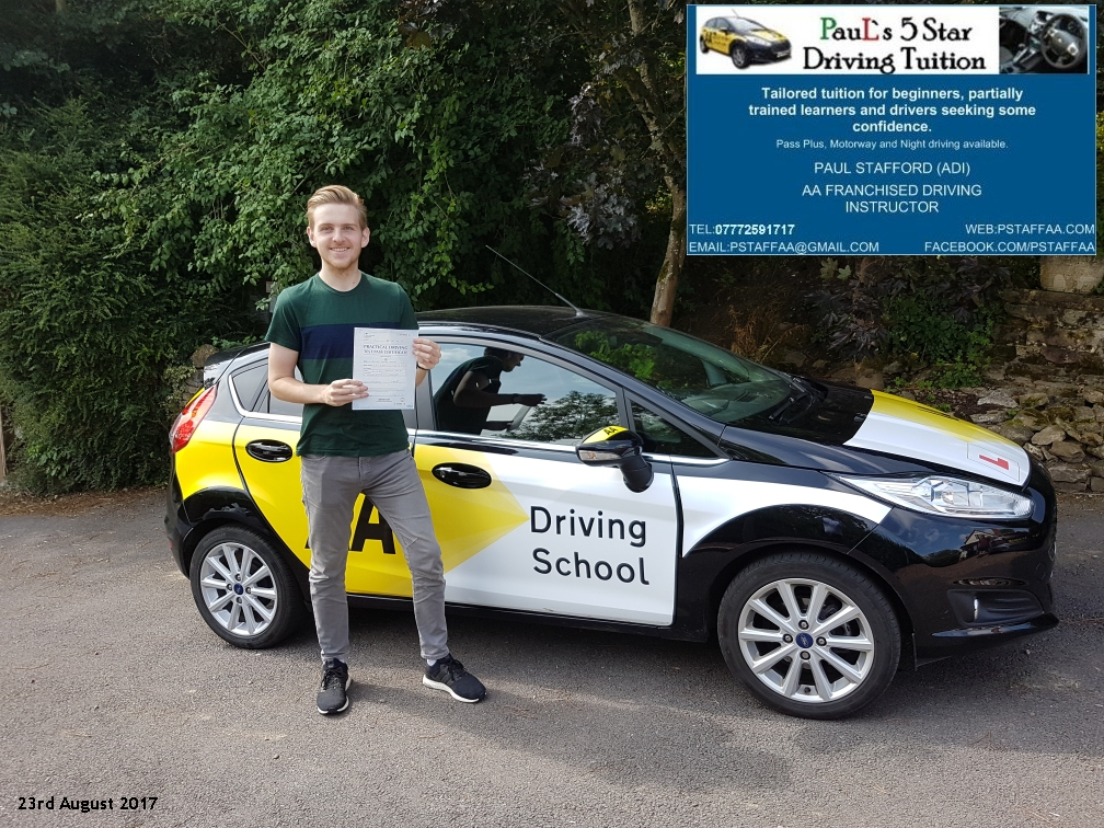 First time test pass pupil oliver knight with paul;s 5 star driving tuition