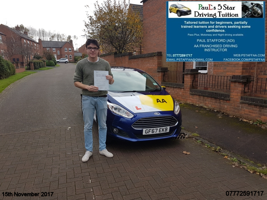 First Time Driving Test Pass Paul Andrews with Pauls 5 Star Driving Tuition