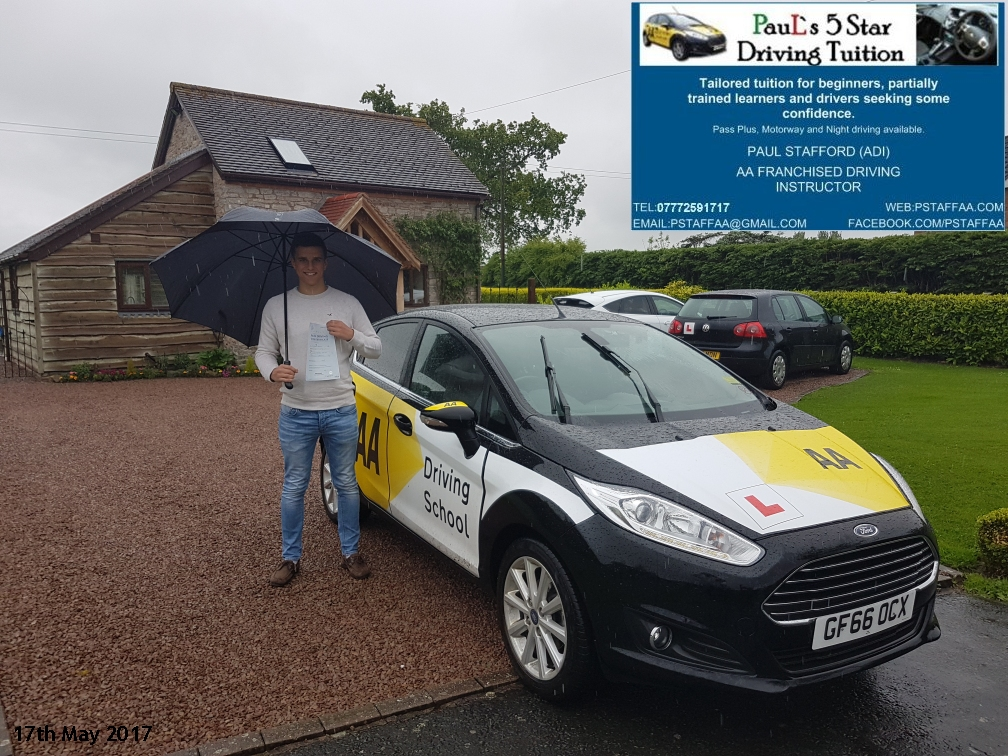 test pass pupil Ryan Brown with Pauls 5 star driving tuition in hereford