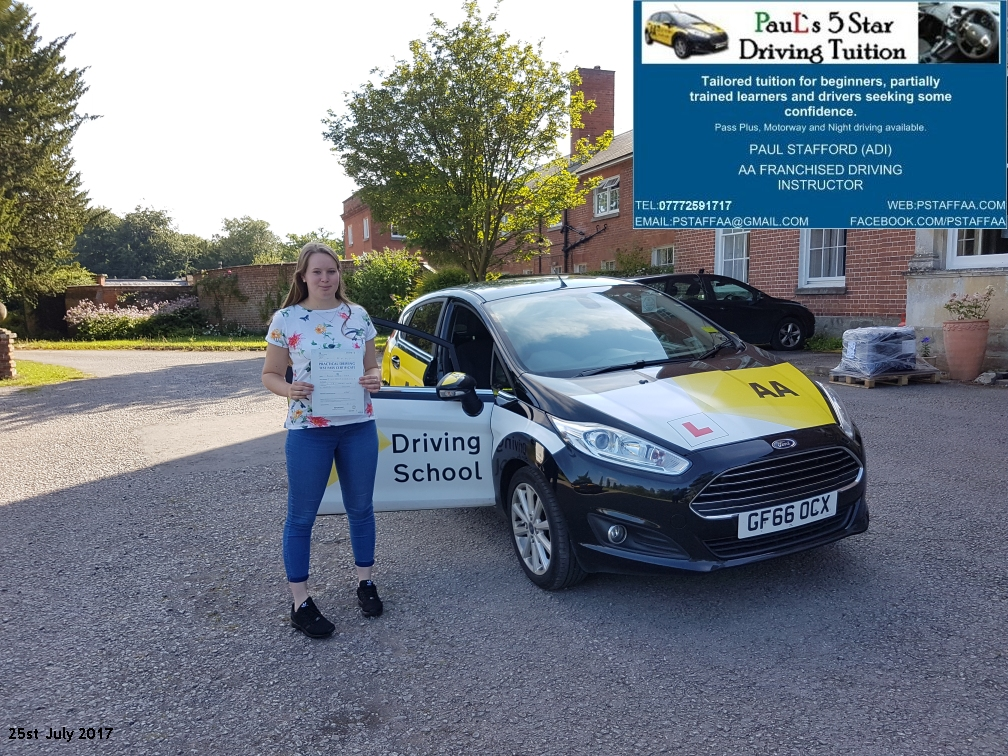 First Time Driving Test Pass Pupil Rowan Finch with Pauls 5 star driving tuition