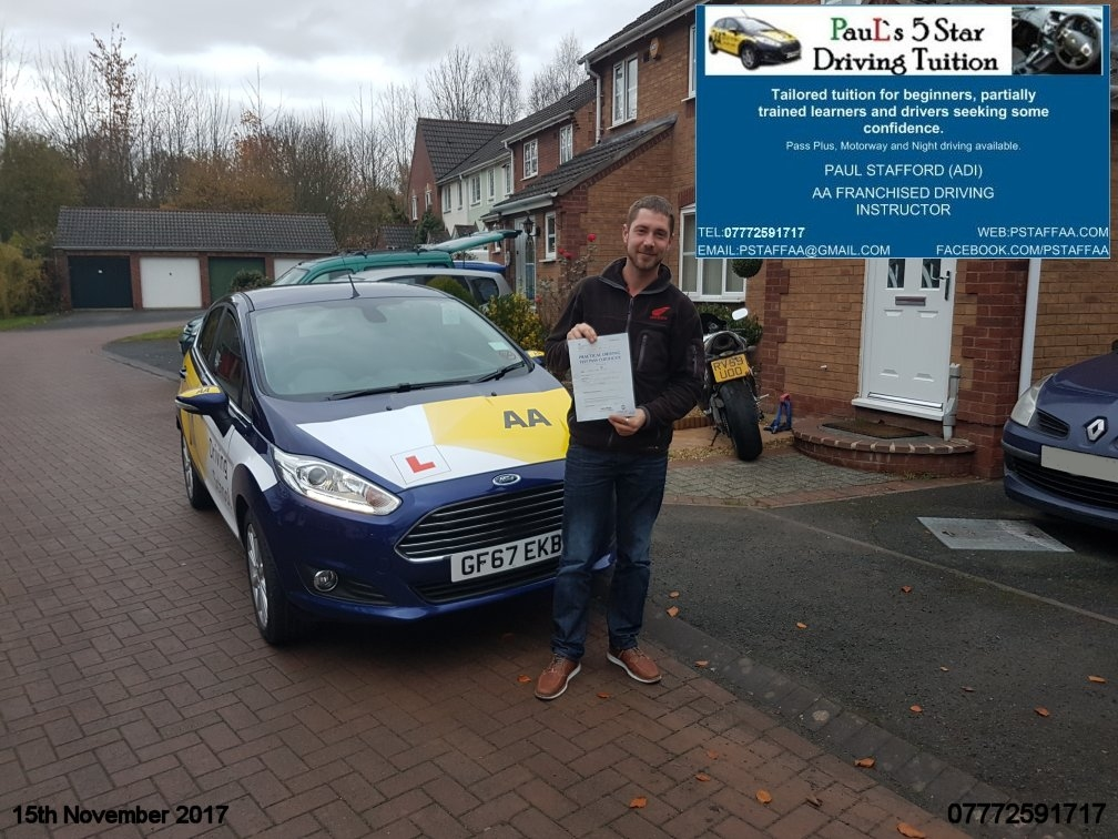 First Time Driving Test Pass Rob Mcillroy with Pauls 5 Star Driving Tuition