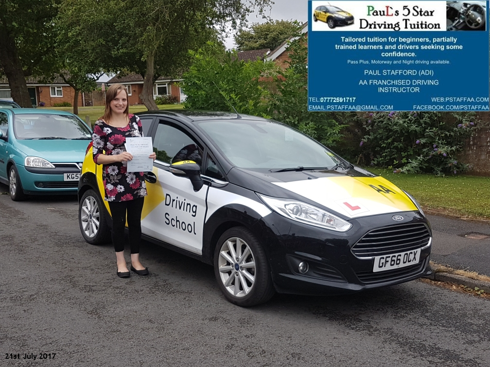 First Time Test Pass Pupil Rebecca Morris with Paul's 5 Star Driving Tuition
