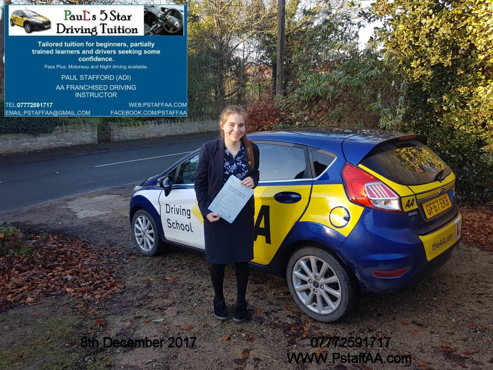 Driving Test Pass Sophie Chalonder with Pauls 5 Star Driving Tuition