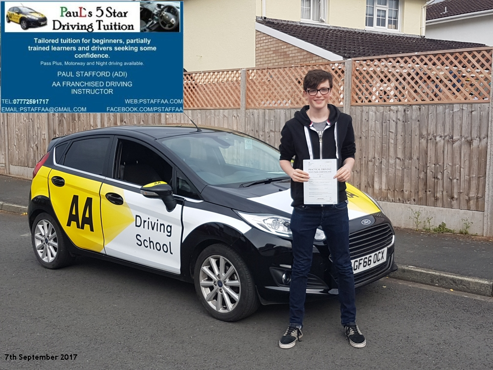 First time test pass pupil thomas james with paul;s 5 star driving tuition