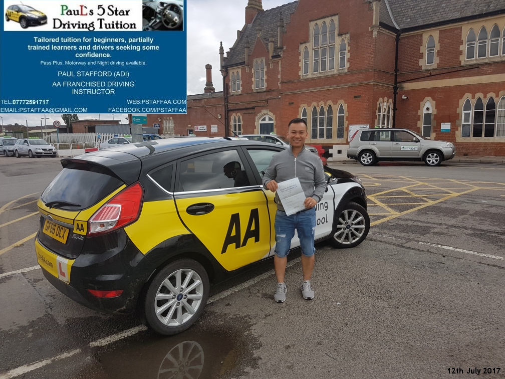 First Time Test Pass Pupil Tuan Den with Paul's 5 Star Driving Tuition
