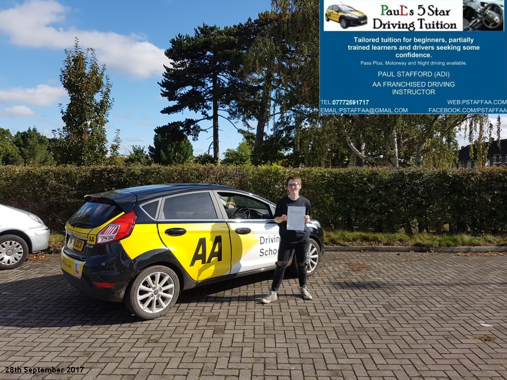 First time test pass pupil vicky rollinson with paul;s 5 star driving tuition