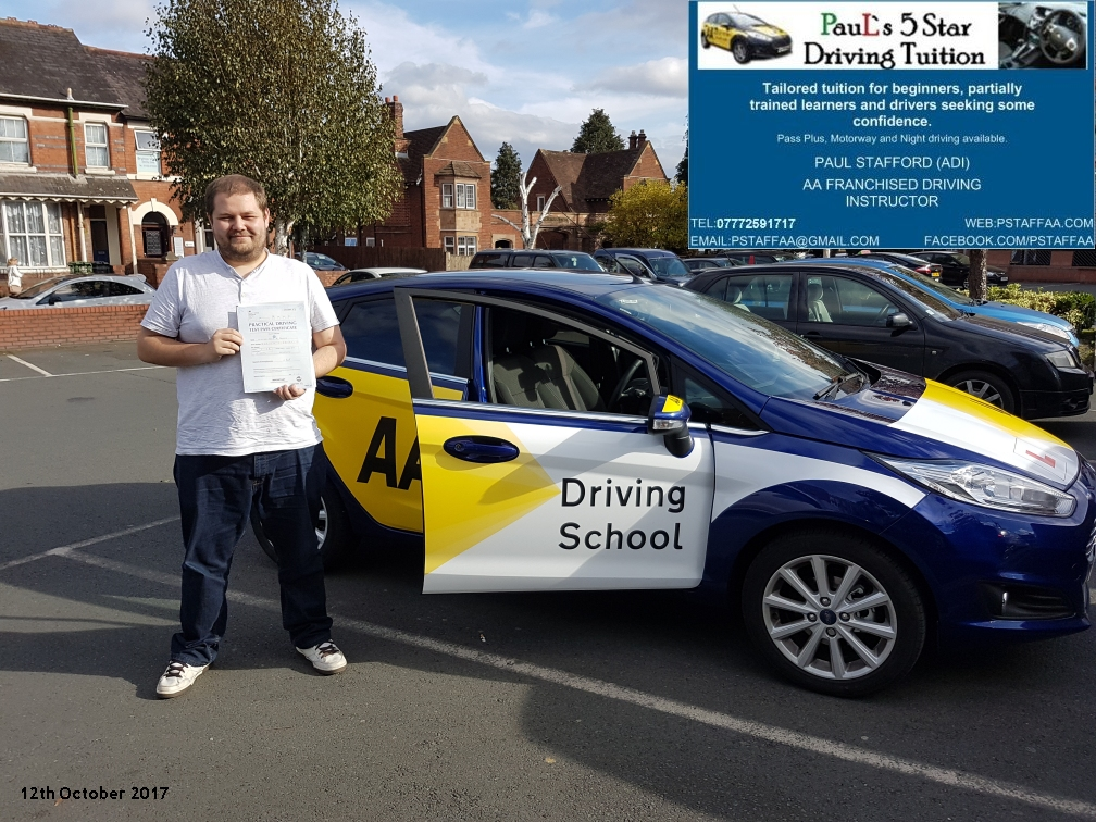 First time test pass pupil will barker with paul;s 5 star driving tuition