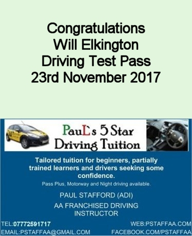 Driving Test Pass Will Elkington with Pauls 5 Star Driving Tuition