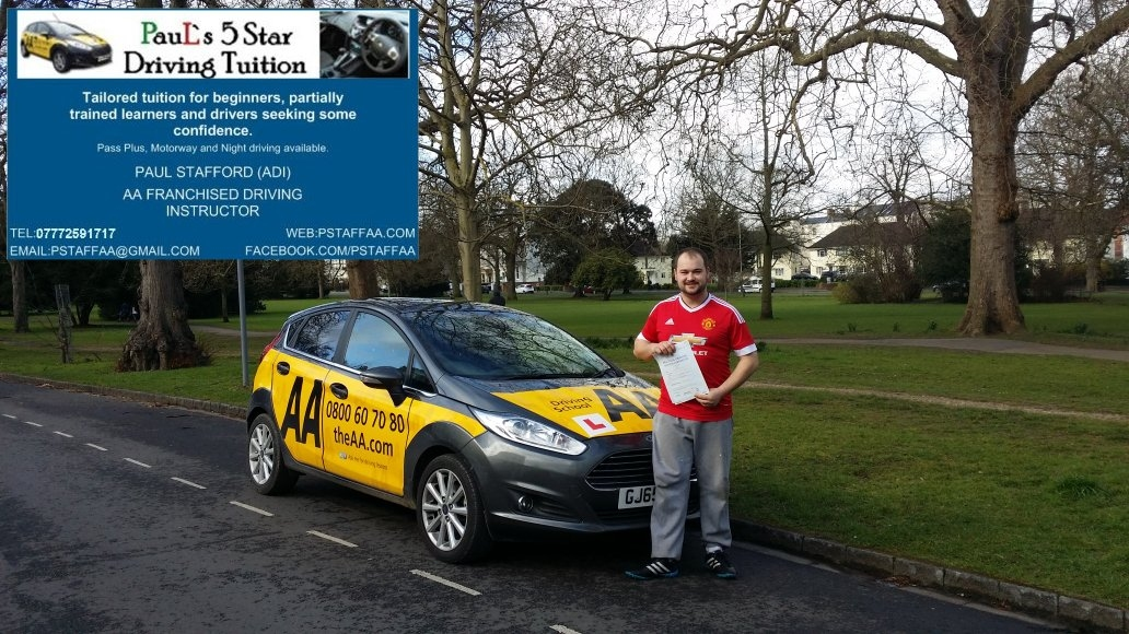 Driving Test Pass Pupil Alex Dickson who Passed with Paul's 5 Star Driving Tuition