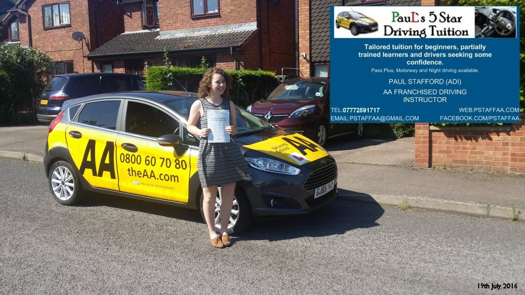 test Pass Pupil Alice Eames with Paul's 5 Star Driving Tuition