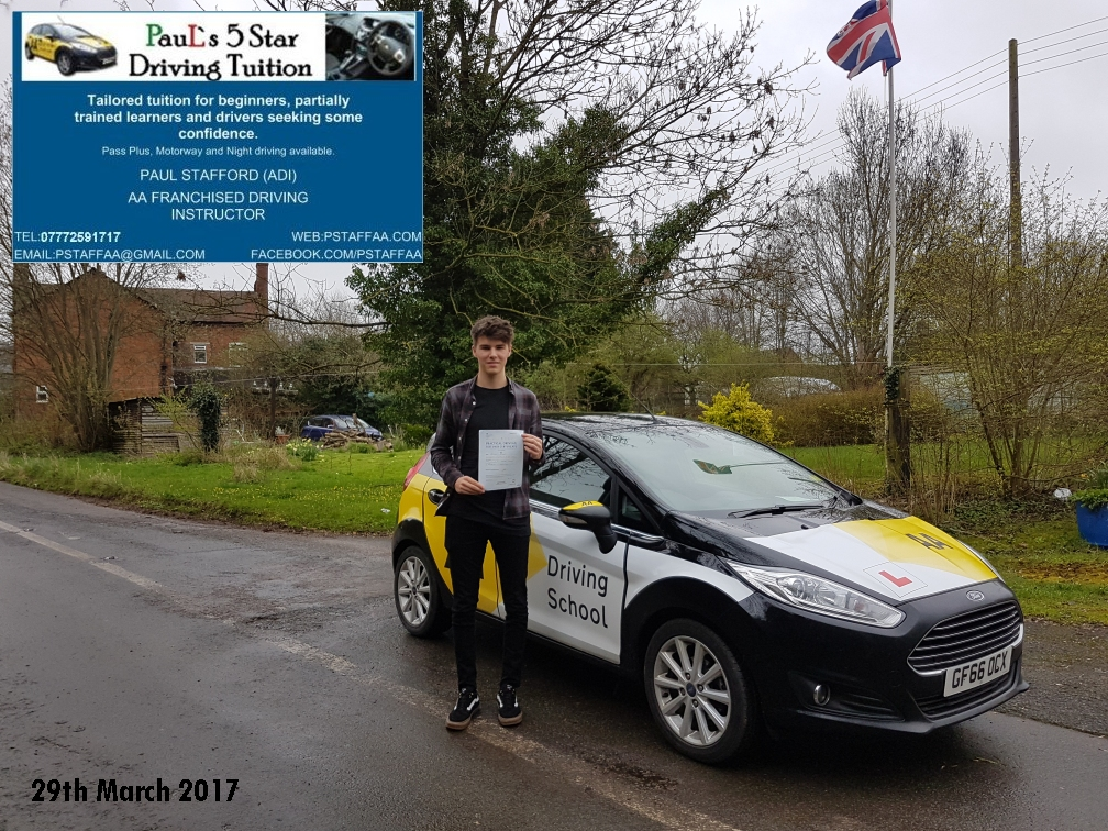 First Time Test Pass Alistair Holder with Paul's 5 Star Driving Tuition 2017
