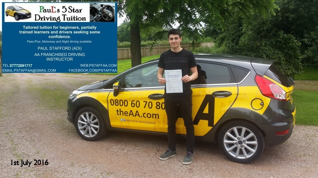 Test Pass Pupil Ben Wood 01 July 2016 with Paul's 5 Star Driving Tuition