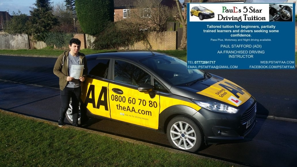 Driving Test Pass Carter Hale with Pauls 5 Star Driving Tuition