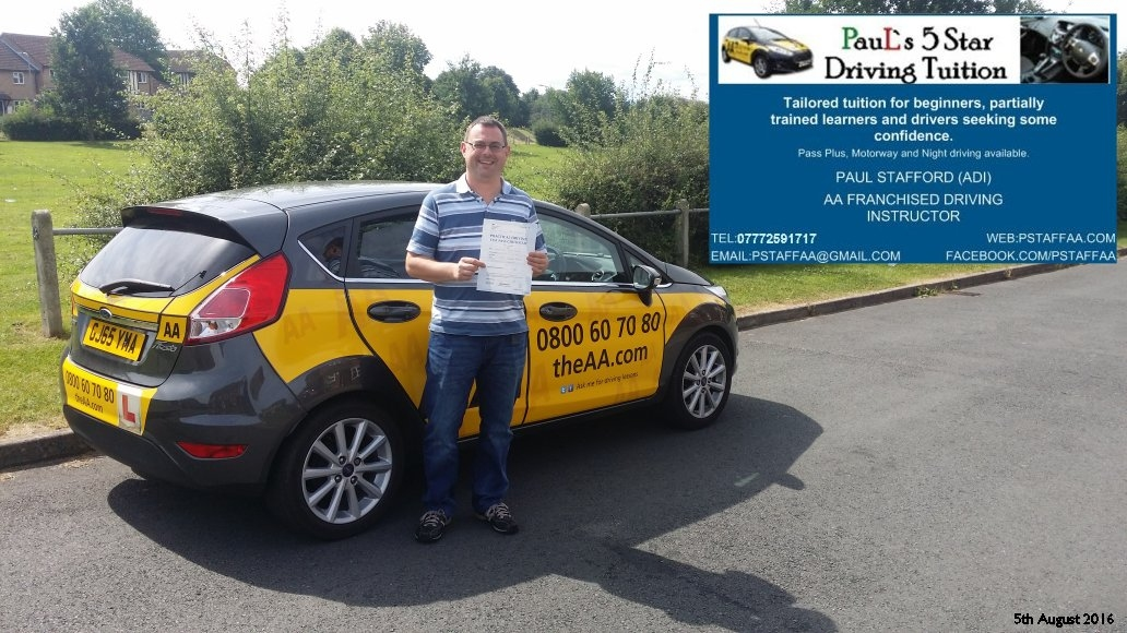 Test Pass Pupil Chris Parsons from Hereford Passes driving test with Paul's 5 Star driving tuition in hereford