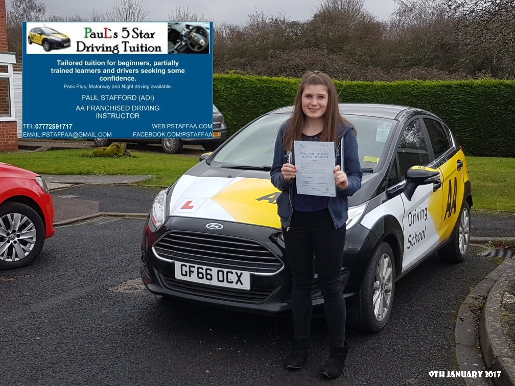 First time Test Pass Pupil Chloe Randall with Paul's 5 star Driving Tuition and Paul Stafford
