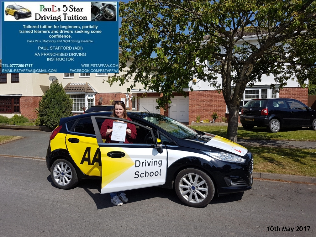 First time Test Pass pupil Cgloe Robinson with Pauls 5 Star Driving Tuition