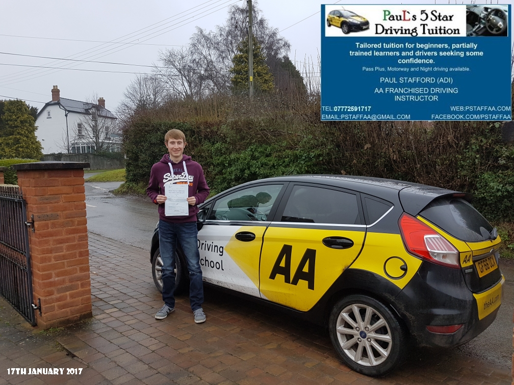 Test Pass Pupil Kieran Baker with Paul's 5 star Driving Tuition and Paul Stafford