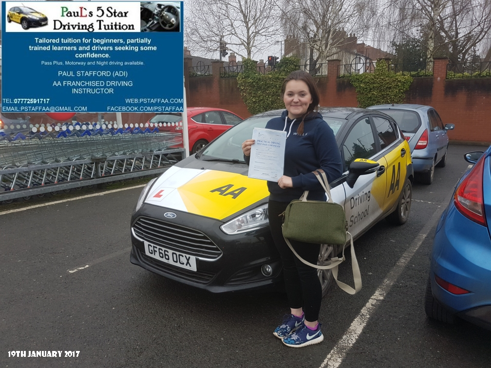 First time Test Pass Pupil Emily Fleetwood with Paul's 5 star Driving Tuition and Paul Stafford