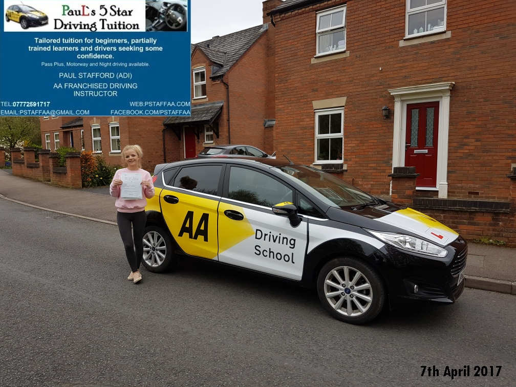 Test Pass Erin Gwilliam with Paul's 5 Star Driving Tuition 2017
