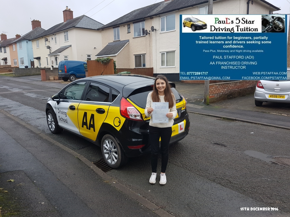 Test Pass Pupil Emily Morris with Paul's 5 star Driving Tuition