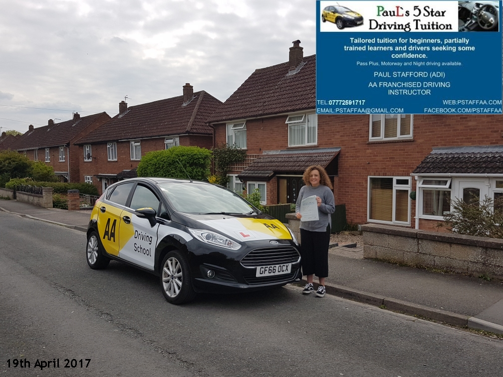 First Time Driving Test Pass Holly James with Pauls 5 star driving tuition