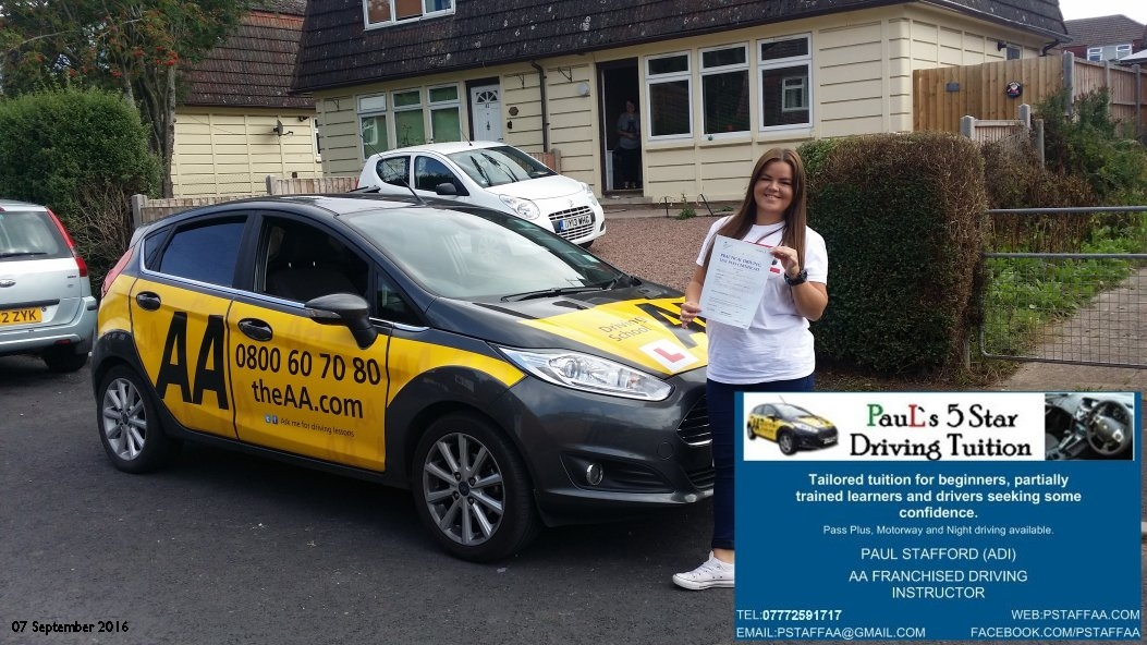 Test Pass Pupil Harley White at Hereford test centre on 7th september 2016 with Paul's 5 Star driving tuition