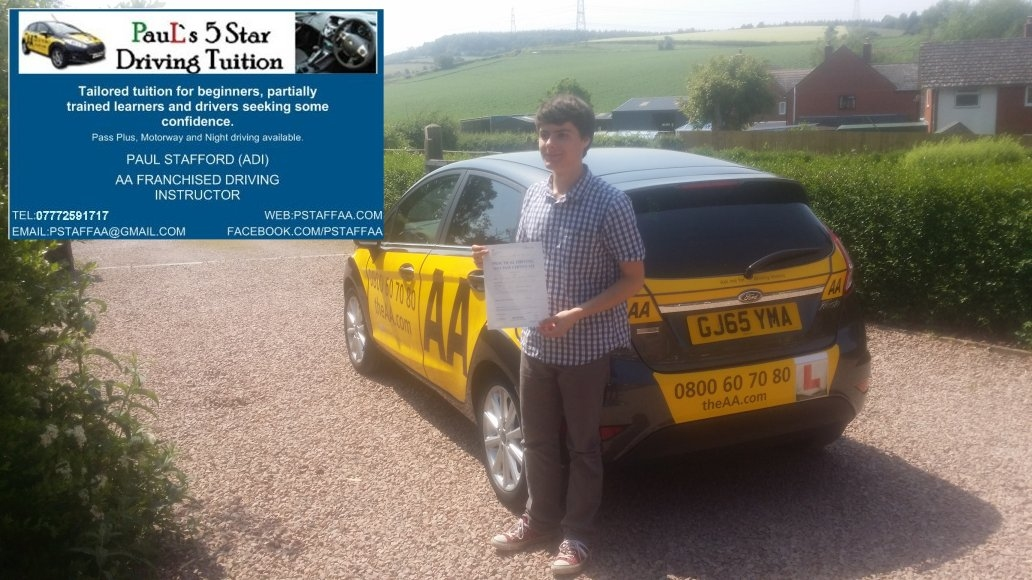 Zero Faults Test Pass Pupil Joshua Carnes Terry with Paul's 5 Star Driving Tuition