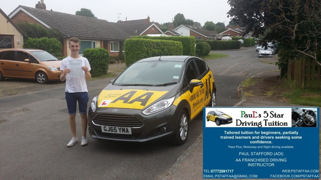 Test Pass Pupil James Dowdall with Paul's 5 Star Driving Tuition only 1 Fault