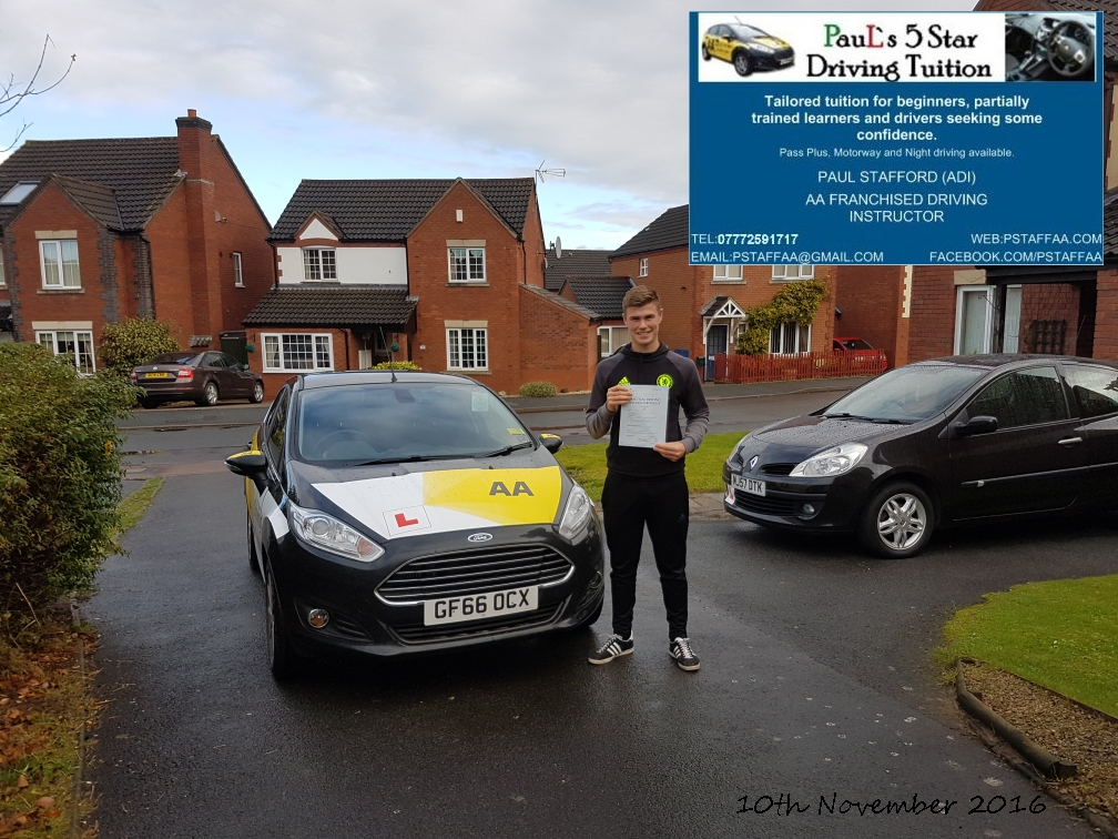 First time test pass pupil Jack manuel with paul's 5 star driving tuition in hereford 10th November 2016