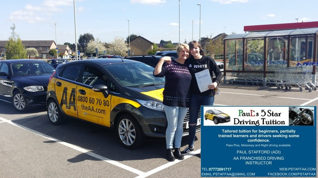 First time test pass pupil Jodie Roberts in Gloucester with Pauls 5 Star Driving Tuition