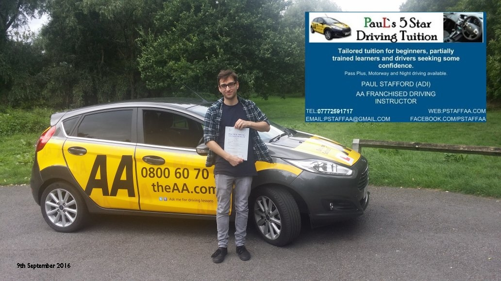 Test Pass Pupil Joshua Rigby with Paul's 5 Star Driving Tuition