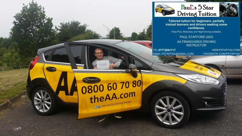 First Time Test Pass Pupil Jon Weaver with Paul's 5 Star Driving Tuition