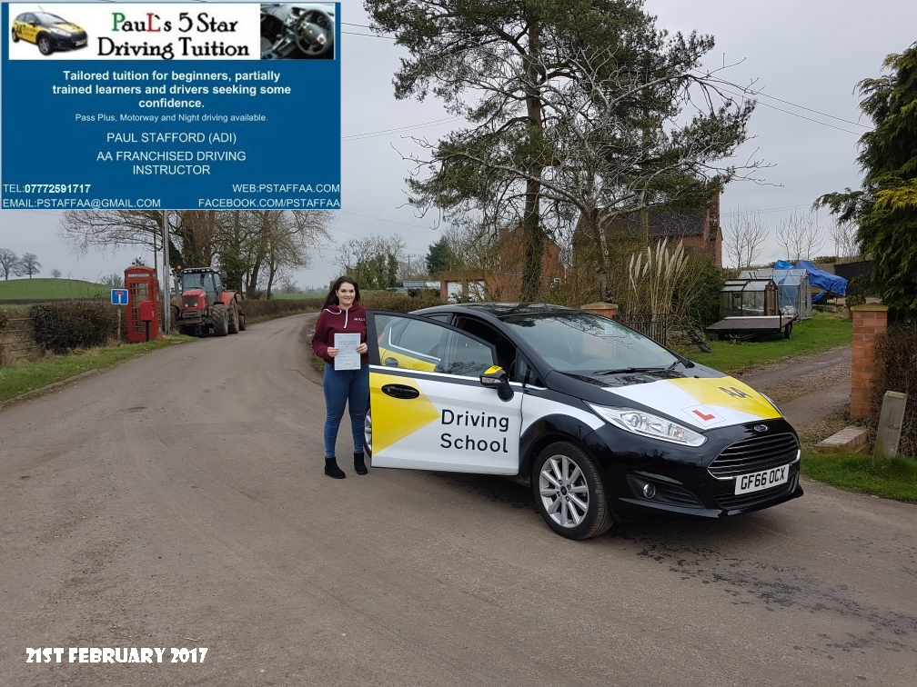 First Time Test Pass Kelly Baylis with Paul's 5 Star Driving Tuition 2017