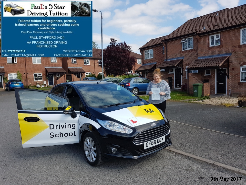 Test Pass pupil Leeanne Bramley in Hereford with Pauls 5 star driving tuition