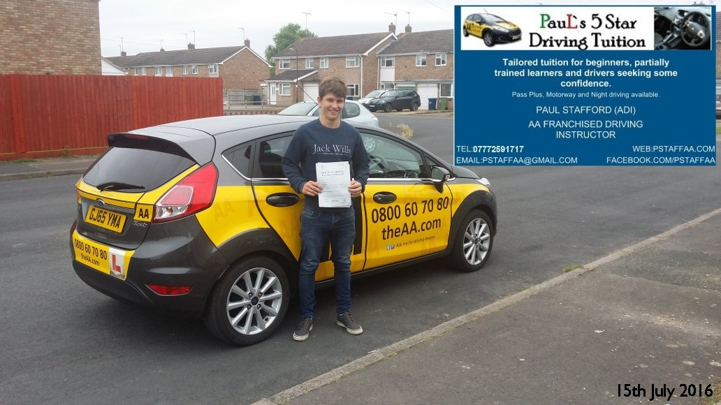 First Time Test Pass Pupil Liam james jordan with Pauls 5 Star Driving Tuition
