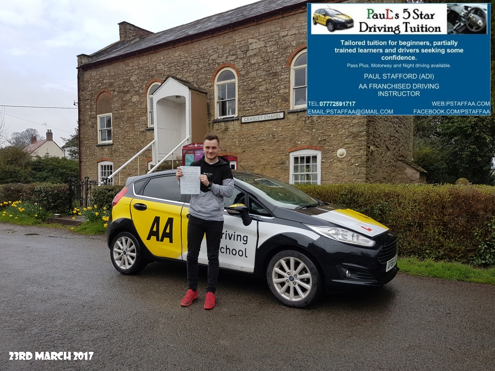 First Time Test Pass Lewis Williams with Paul's 5 Star Driving Tuition 2017