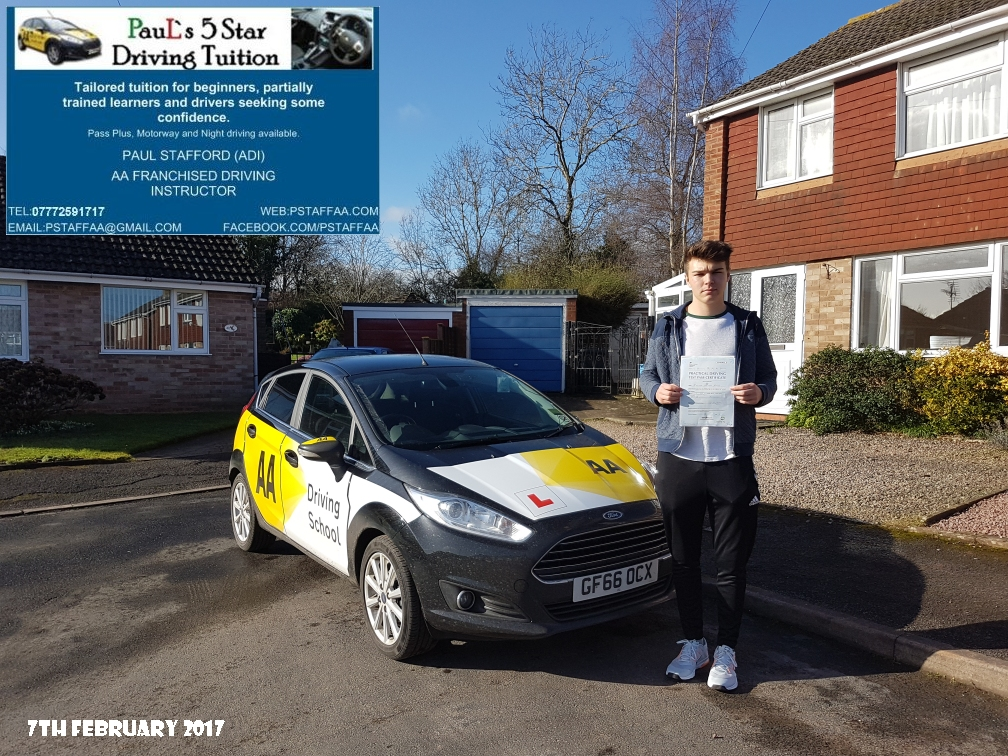 Test Pass Pupil Mathew Holder with Paul's 5 star Driving Tuition and Paul Stafford