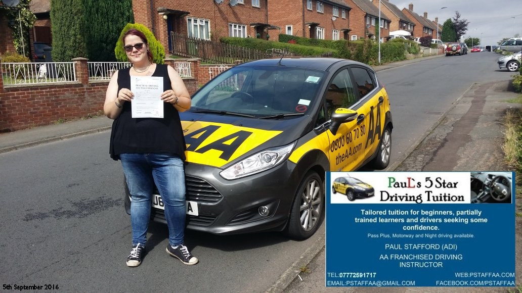 First time test pass pupil Ruby Treagus 5th September 2016 Hereford with Paul's 5 Star Driving school