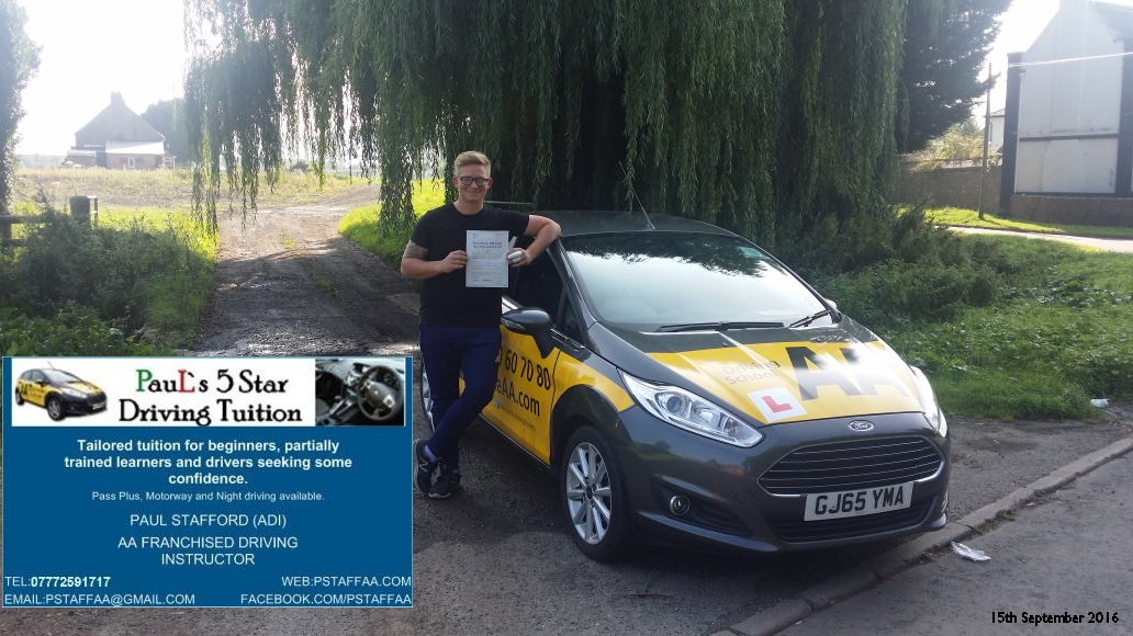 First time test pass pupil sean arrowsmith with pauls 5 star driving tuition in Hereford