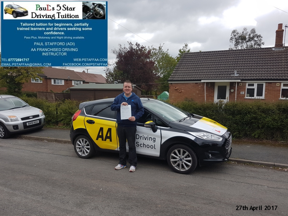 First time test pass pupil stein cochrane with paul's 5 star driving tuition