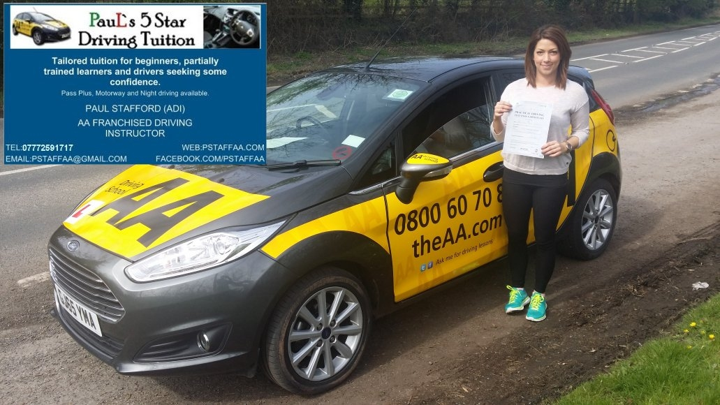 Driving Test Pass Pupil Sally Fyffe with Paul's 5 Star Driving Tuition in Hereford 130416
