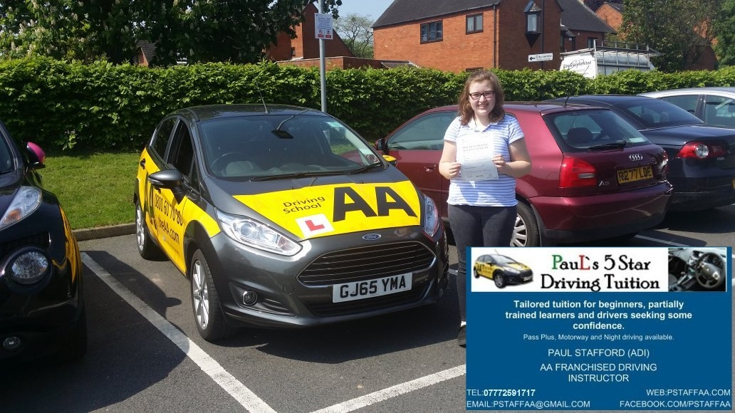 Test Pass in Hereford First Time Shannon Thomas with Pauls 5 Star Driving Tuition