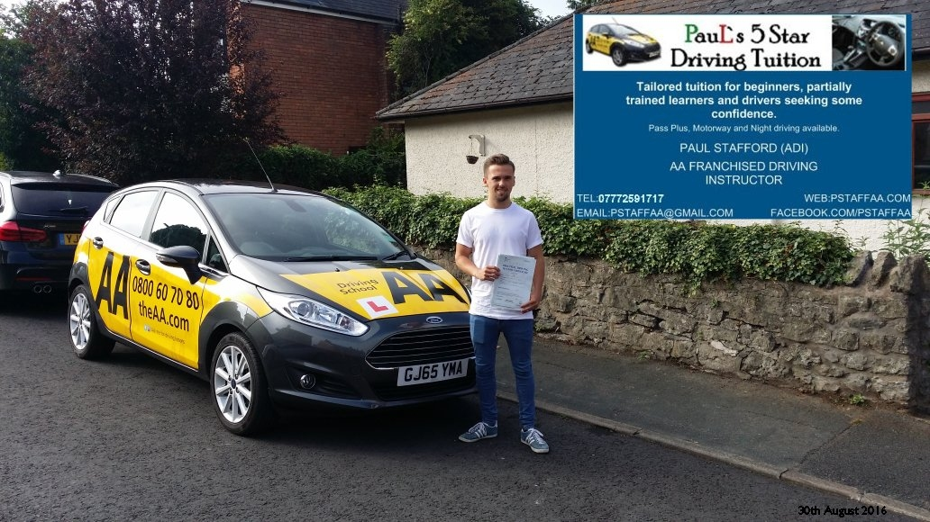 Test Pass pupil Tom Reid from ledbury who passed his driving test in hereford today with Paul's 5 star driving tuition