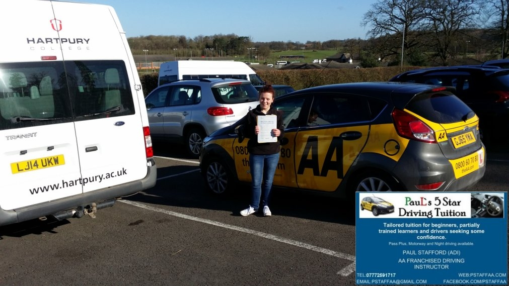 Molly McGurk Passing my driving test with Paul's 5 Star Driving Tuition
