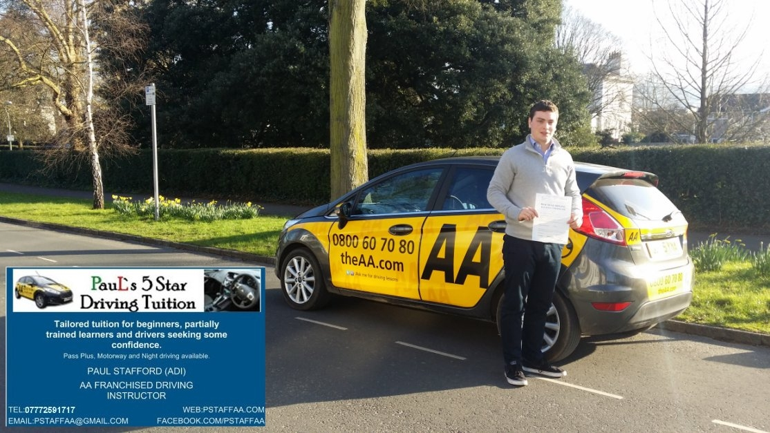 Rowan Poole Passing my driving test with Paul's 5 Star Driving Tuition