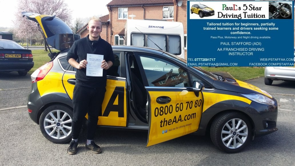 Test Pass Thomas Reece Cornock, Paul is a great instructor, makes that extra effort, and is an all round nice guy! Our son always enjoyed his lessons - and passed his test first time! Thanks Paul from all of us.